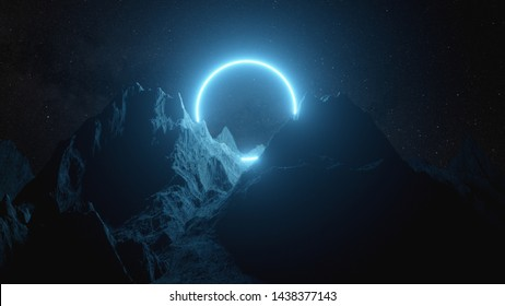 Beautiful minimalistic fantastic landscape. Bright blue neon circle among the mountains against the background of a rotating night starry sky. 3d illustration
