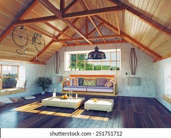 beautiful modern attic interior with hanging sofa. 3d design concept.