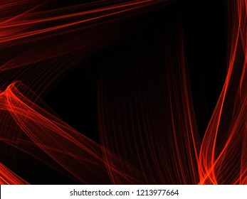 Beautiful modern digital futuristic abstract red linear waves on black dark background texture technology