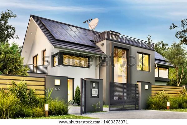Beautiful Modern House Garden Solar Panels Stock Illustration