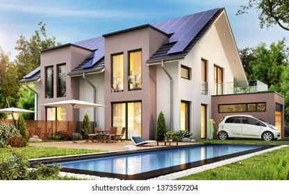 Beautiful modern house with solar panels on the roof and swimming pool. Garage and electric car. 3d rendering