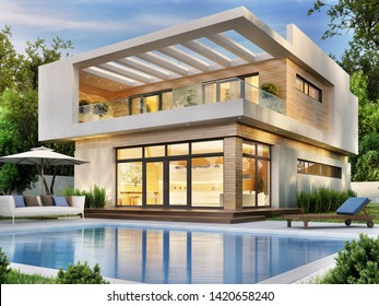 Beautiful modern house with a terrace and a swimming pool. 3d rendering