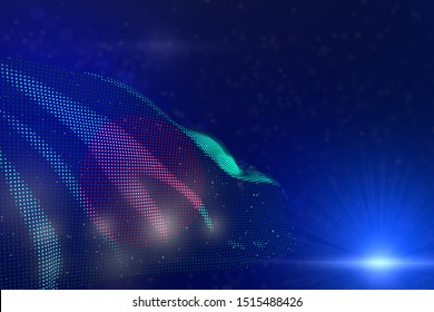 beautiful modern illustration of Bangladesh flag of dots waving on blue - selective focus and place for your text - any feast flag 3d illustration