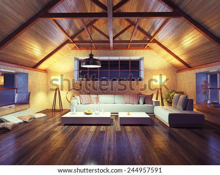 Beautiful modern interior loft evening d stockillustration