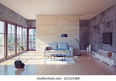 beautiful modern living room interior (illustration)