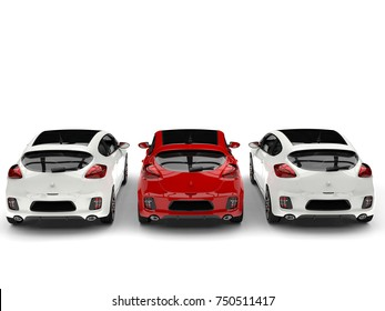 Beautiful modern rose red and clean white electric cars - back view - 3D Illustration
