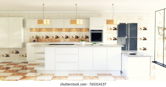 Beautiful Modern Spacious Kitchen Interior Scene. White walls, white  Cabinets, Marble effect Orange and White Checker tiles and matching  kitchen backsplash  3D Rendering