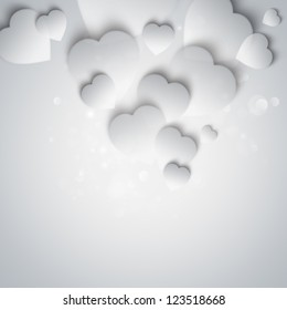 Beautiful modern valentine background with white hearts on gray background