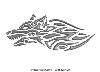 Beautiful monochrome 3d illustration with gray stylized wolf head isolated on the white background