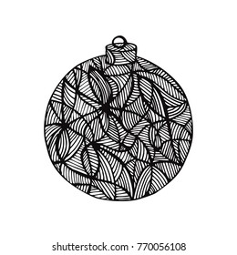 Beautiful monochrome black and white christmas ball, hand-drawn. design for background holiday greeting cards and invitations of the Merry Christmas and Happy New Year and seasonal holidays - Shutterstock ID 770056108