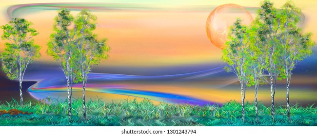 Beautiful morning landscape. Surreal oil painting artwork.