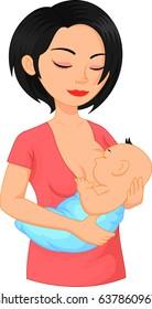 Beautiful mother breastfeeding her new born baby