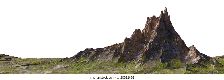beautiful mountain isolated on white background, 3d landscape illustration banner