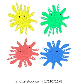 Beautiful multicolored dangerous scary viruses illustration on a white background