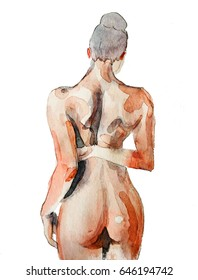 Beautiful naked girl standing with back, with hairdo, illustration executed by watercolor by hand on paper.