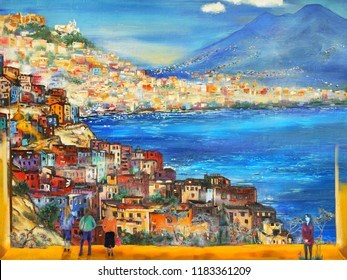 Beautiful Naples view. Oil painting artwork.