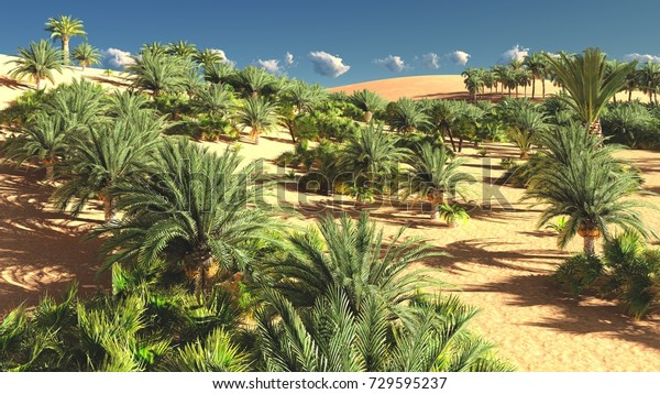 Beautiful Natural Background African Oasis 3d Stock Illustration