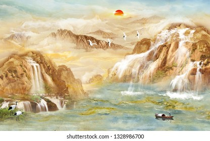 Beautiful natural scene- lake and mountains background 3D wallpaper-Illustration