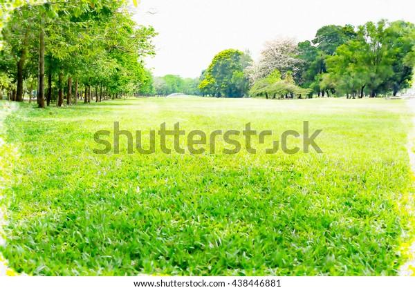 Beautiful Nature Watercolor Green View Park Stock