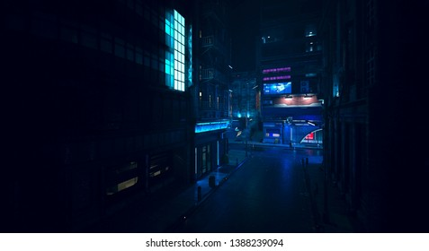Beautiful neon night in a cyberpunk city. Photorealistic 3d illustration of the futuristic city. Empty street with neon lights.