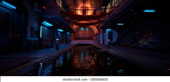 Beautiful neon night in a cyberpunk city. Photorealistic 3d illustration of the futuristic city. Empty street with blue neon lights reflecting in a water.