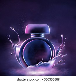 Beautiful neon perfume bottle. Hand drawn digital illustration.