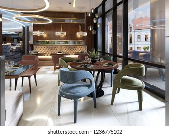 Beautiful new and empty luxury restaurant in european style. 3D Rendering