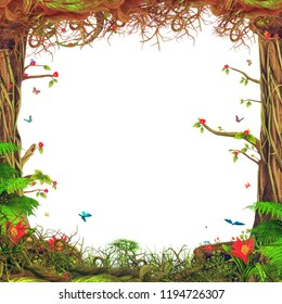Beautiful nice woodland scene with trees , grass, butterflies , flowers on white  background, illustration art
