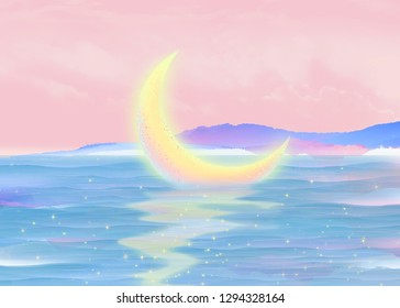 Beautiful night, the moon melts in the glowing river and gives off a radiance, starlight in the glittering abstract illustration poster