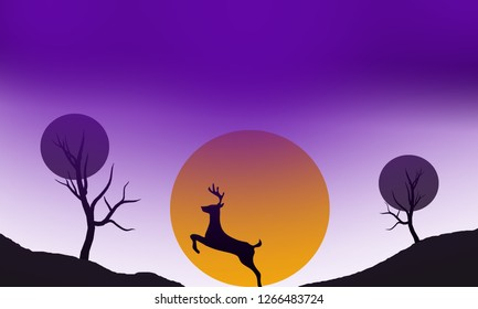 Beautiful night sky, full moon, silhouettes of branches, trees, bushes, reindeer and antelope with curved horns. Free vector for nature, fauna, wildlife, wilderness, night and forests visuals. Graphi
