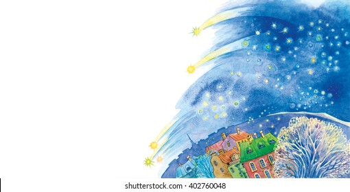 Beautiful night with a sky full of stars over the old town