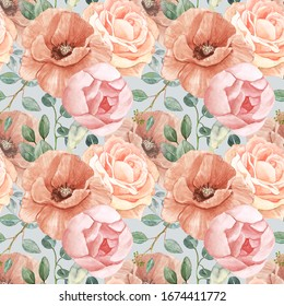 Beautiful nude floral seamless pattern. Watercolor neutral flowers on pastel gray background. All over blooms botanical print for textile, design. Hand painted poppy, rose, peony,sage green eucalyptus