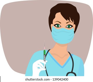 beautiful nurse ready to make an injection. raster version, vector file also included