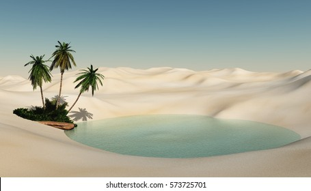 Beautiful oasis in the desert sand, palm trees on the shore of the lake, 3d rendering