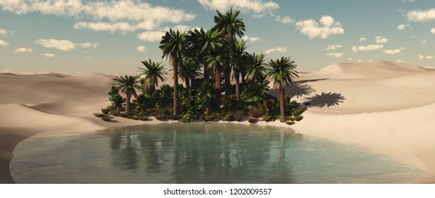 Beautiful oasis in the sandy desert at sunset, a lake with palm trees in the desert, 3d rendering