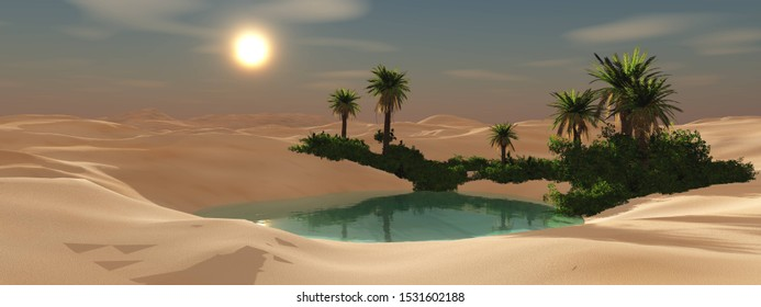 A beautiful oasis in the sandy desert at sunset. 3d rendering.