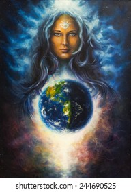 A beautiful oil painting on canvas of a woman goddess Lada as a mighty loving guardian and protective spirit upon the Earth portrait eye contact