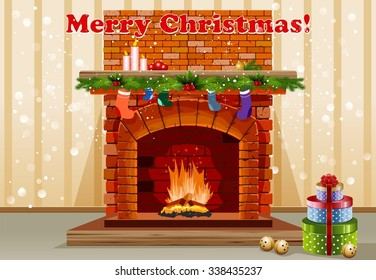 Beautiful old fireplace with Christmas decorations