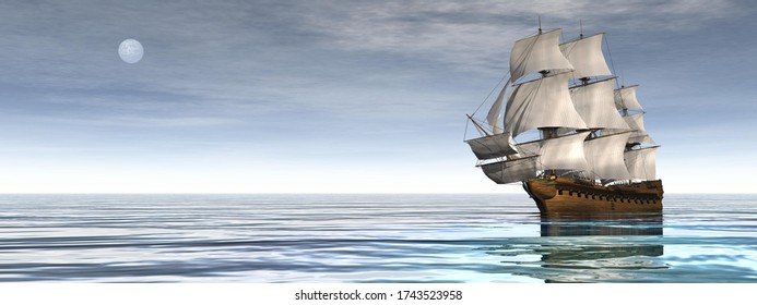 Beautiful old merchant ship floating on quiet water by day with moon - 3D render