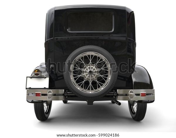 Beautiful oldtimer car - back view - 3D Render