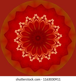 Beautiful orange, red, gold and yellow mandala with floral pattern on red orange background. Decorative element, ethnic design, web design, anti-stress therapy, meditation.
