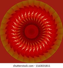 Beautiful orange, red, gold and yellow mandala with geometric pattern and orange red background. Decorative element, ethnic design, web design, anti-stress therapy, meditation.