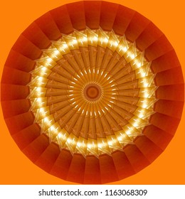 Beautiful orange, red, gold and yellow mandala with spiral pattern on orange background. Decorative element, ethnic design, web design, anti-stress therapy, meditation.