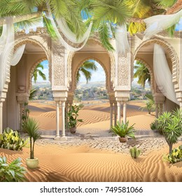 Beautiful oriental arches with white curtains and a sunny hot desert with palm trees and cacti. digital fresco