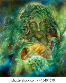 beautiful ornamental emerald green fairy with phoenix bird