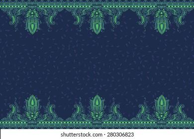 Beautiful ornate border paisley style. Seamless eastern tradition design