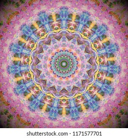 beautiful ornate radiating round arabesque style mandala design in shades of  pink and blue with ornate detail
