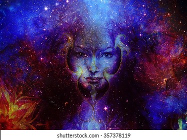 Beautiful Painting Goddess Woman with ornamental mandala and  Color space background with stars