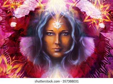 Beautiful Painting Goddess Woman with ornamental mandala and butterfly wings and color abstract background  and eye contact
