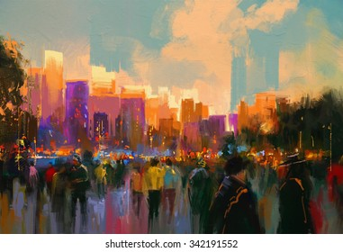 beautiful painting of people in a city park at sunset,illustration